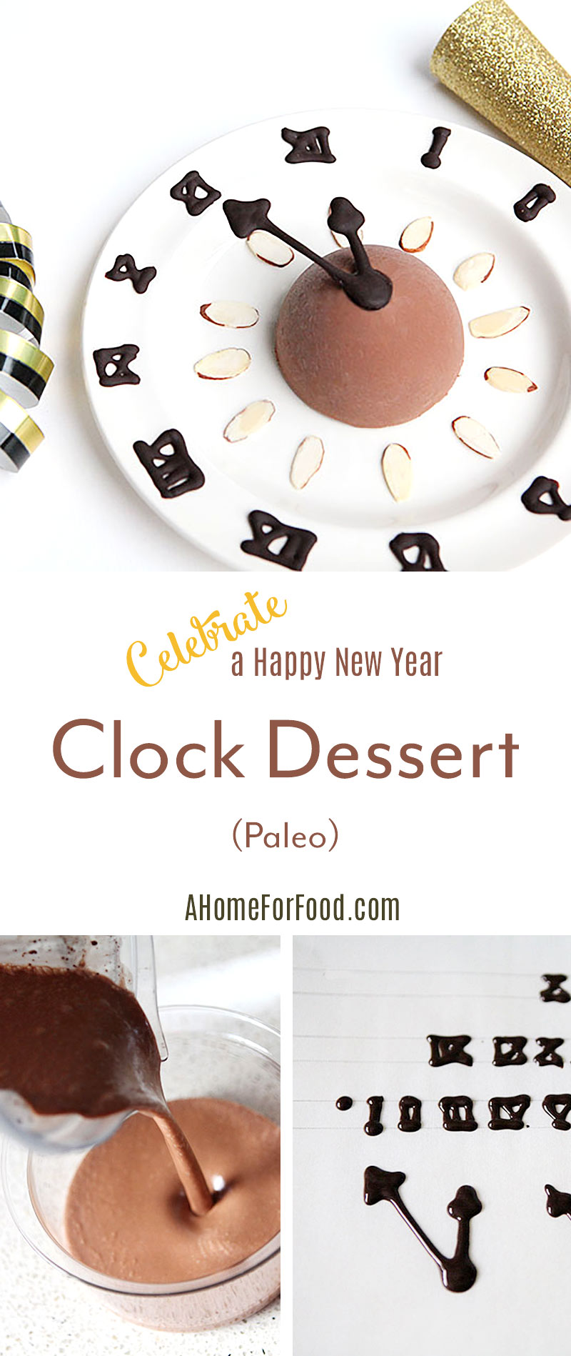 New Year clock desert: delicious and creamy chocolate ice cream (paleo)