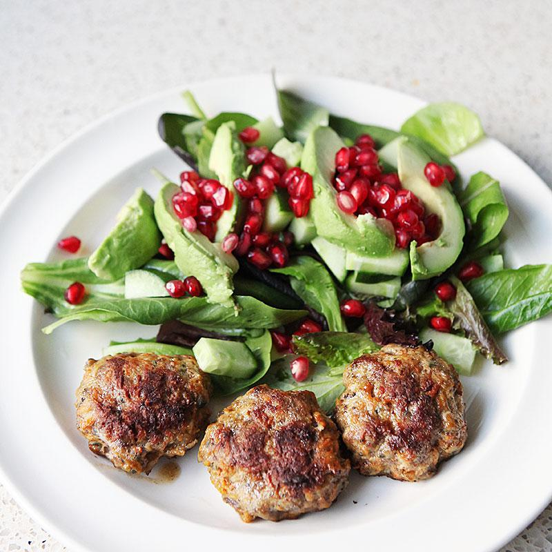 Fresh herb and juniper meatballs