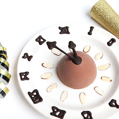New Year Clock Dessert with edible clock hands